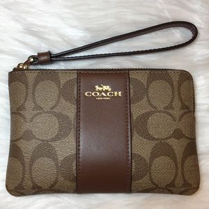 COACH Signature Coated Canvas Leather Corner Zip